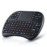 CSL - Mini Wireless Keyboard inkl. Touchpad (Maus) | Funk Tastatur 2,4GHz / Multifunktionsboard/Fernbedienung | 92 Tasten / QWERTZ (deutsches Layout) | 2 dpi Stufen | PC / Notebook / Media Center