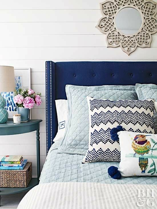 Blue And White Bedroom Shiplap Wall Navy Headboard In