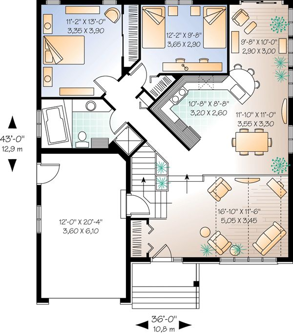 2 Car Garage Apartment Plan Number 94343 With 1 Bed 1: Traditional Style House Plan Number 65063 With 2 Bed, 1