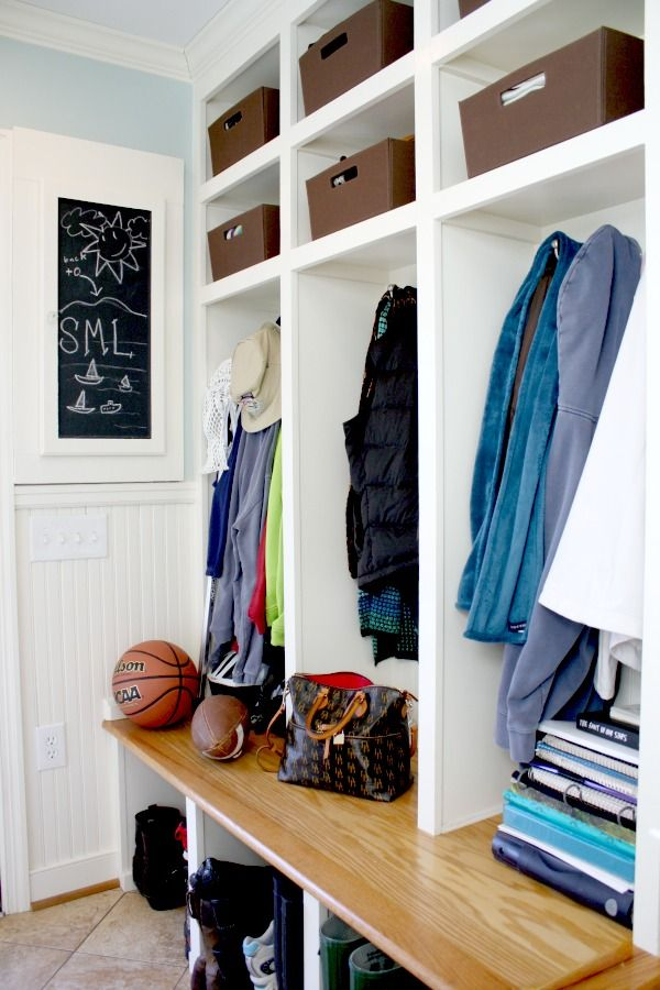 Add an inspiration chalk board in an entryway or mudroom like this one! (Back wall: Palladian Blue HC-144)