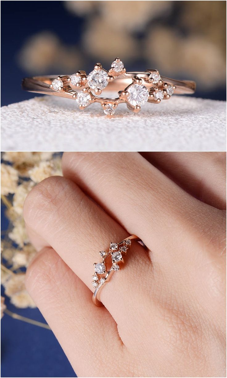 Diamond Cluster Ring Twig Engagement Ring Floral Unique Wedding Band  Snowflake Rose Gold Dainty Flower Mini
