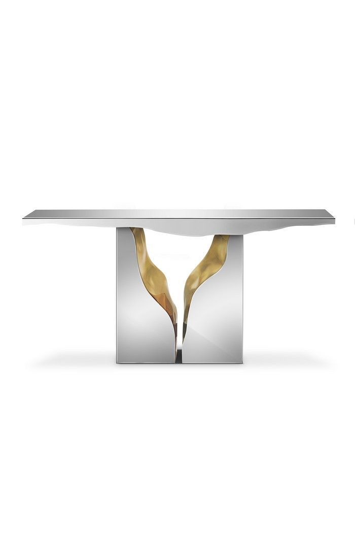 LAPIAZ CONSOLE TABLE | It features a mahogany structure, with its inside finished in polished brass, and an exterior finished in polished stainless steel | www.bocadolobo.com #bocadolobo #luxuryfurniture #exclusivedesign #interiodesign #designideas