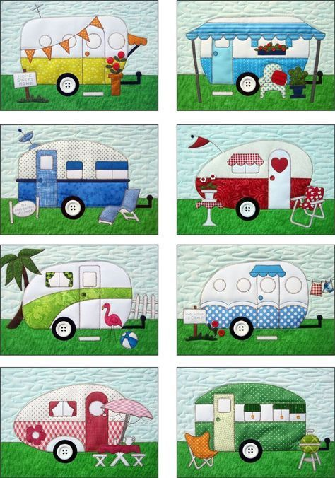 """Campers Quilt Pattern & Fabric Kit~ includes precut, prefused fabric applique pieces for the camper trailers, accessories, and grass for the eight blocks. Sky backgrounds, sashing, borders, backing, buttons and binding are not included. Campers Quilt Pattern includes full size patterns, placement sheets, and instructions to make a 40"""" x 54"""" Camper Trailer Quilt, an 18"""" x 18 1/2"""" Welcome Wall hanging, and a Custom Size Camping Family Wallhanging. The technique is fusible applique. $139.00"""