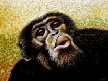 "Saatchi Art Artist Dan Civa; Painting, ""Chimpanzee portrait (chimp 5)"" #art"