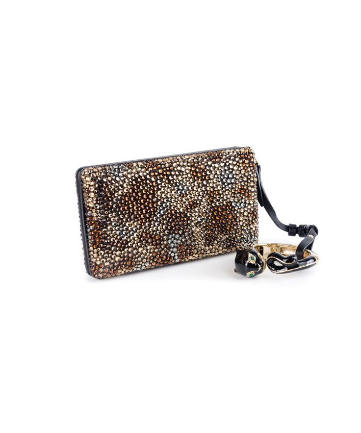 ROBERTO CAVALLI Roberto Cavalli Women Crystal Embellished Clutch With Panther Bracelet. #robertocavalli #bags #animal print #leather #clutch #crystal #lining #hand bags #