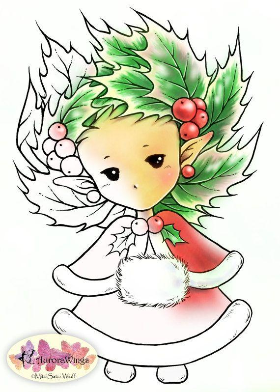 Digital Stamp  Christmas Holly Sprite in Winter by AuroraWings