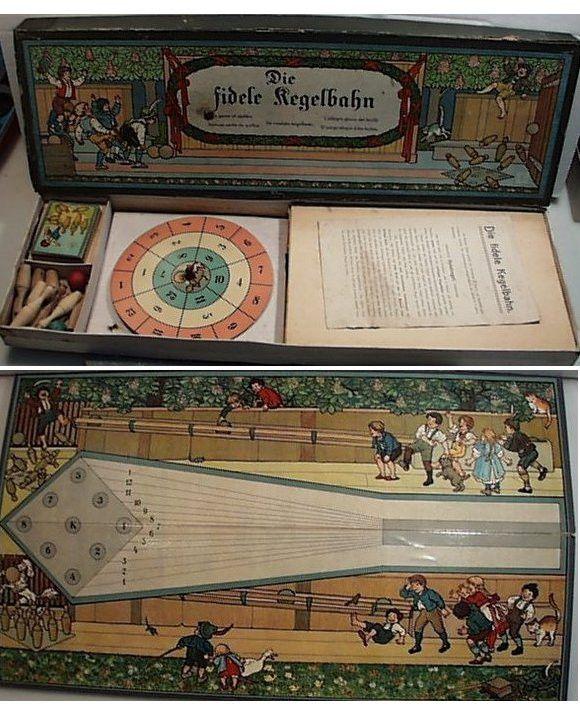 Vintage 1890'S Victorian Game Die fidele kegelbahn, Happy Game of Skittles Bowling