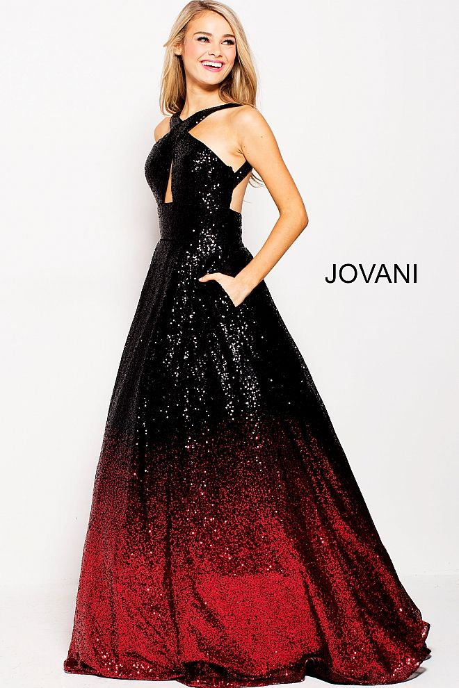605f2308c34 Floor length A line black red ombre sequin prom ballgown features  sleeveless bodice with high criss cross neckline with key hole and open  back.