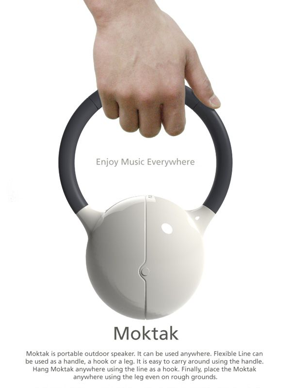 Moktak - The Anywhere Speakers | The speakers feature a flexible lead cable with a silicone cover and can bend into any shape. The cable stays in shape and surges power between the two audio outputs. It even doubles up as a handle to carry the speakers; a hook for hanging or a stand for propping them up. Designer: Soohun Jung, A 2012 red dot award design concept winner.
