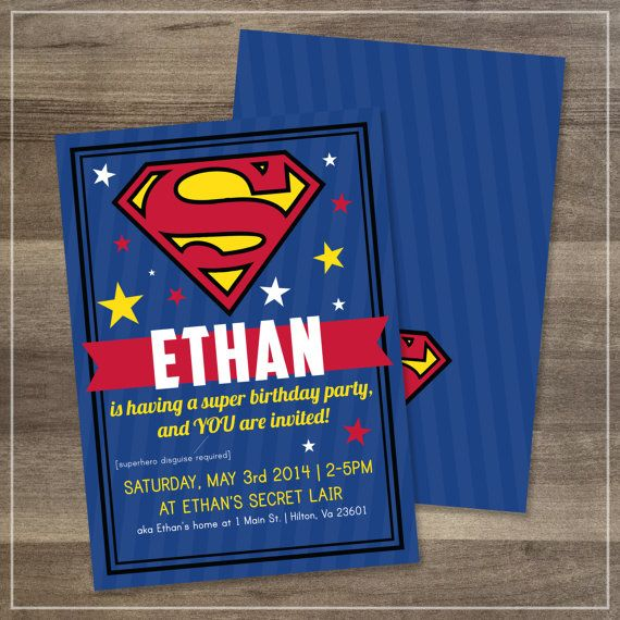 Superman Birthday Party Invitation // by afranksdesigns on Etsy