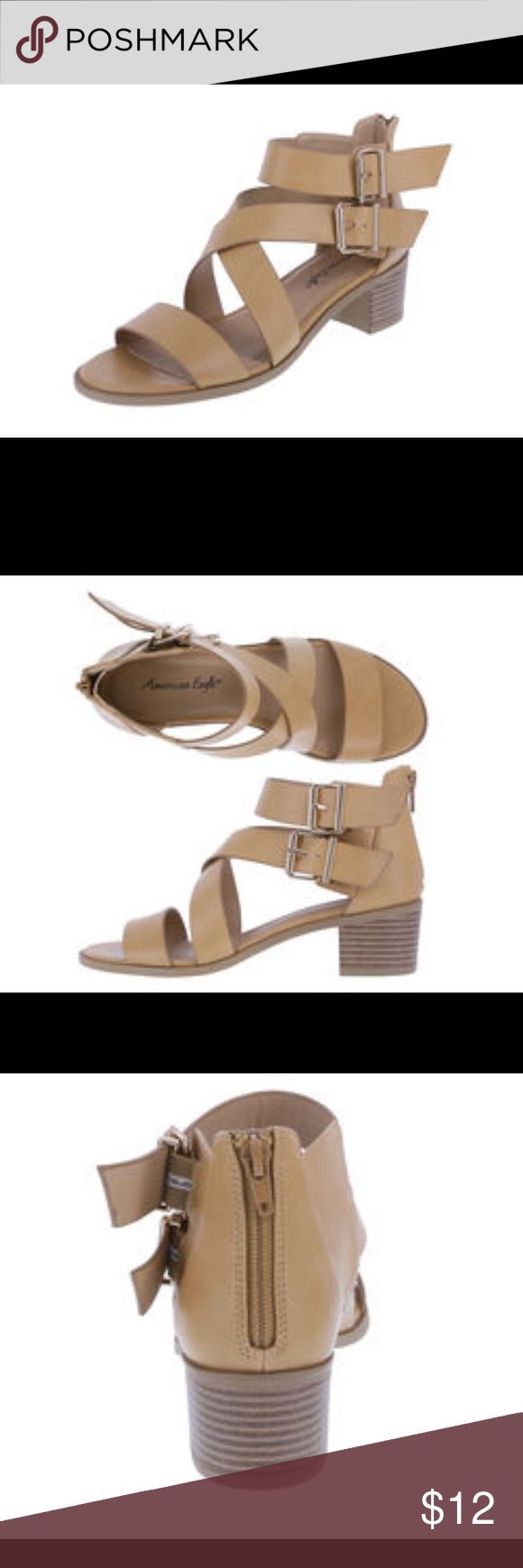 American eagle for Payless shoes size 9.5 Worn for a few hours like new. 2.5 inch heel. Look exactly like photos shown. Final price ($12) feel free to make an offer on bundled items only. American Eagle By Payless Shoes Sandals