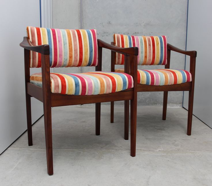 These two are our favourites! A pair of mid century dining chairs recovered in a multi-coloured vintage striped chenille. The Gleasons are family and will only be sold as a pair.Please note tha...