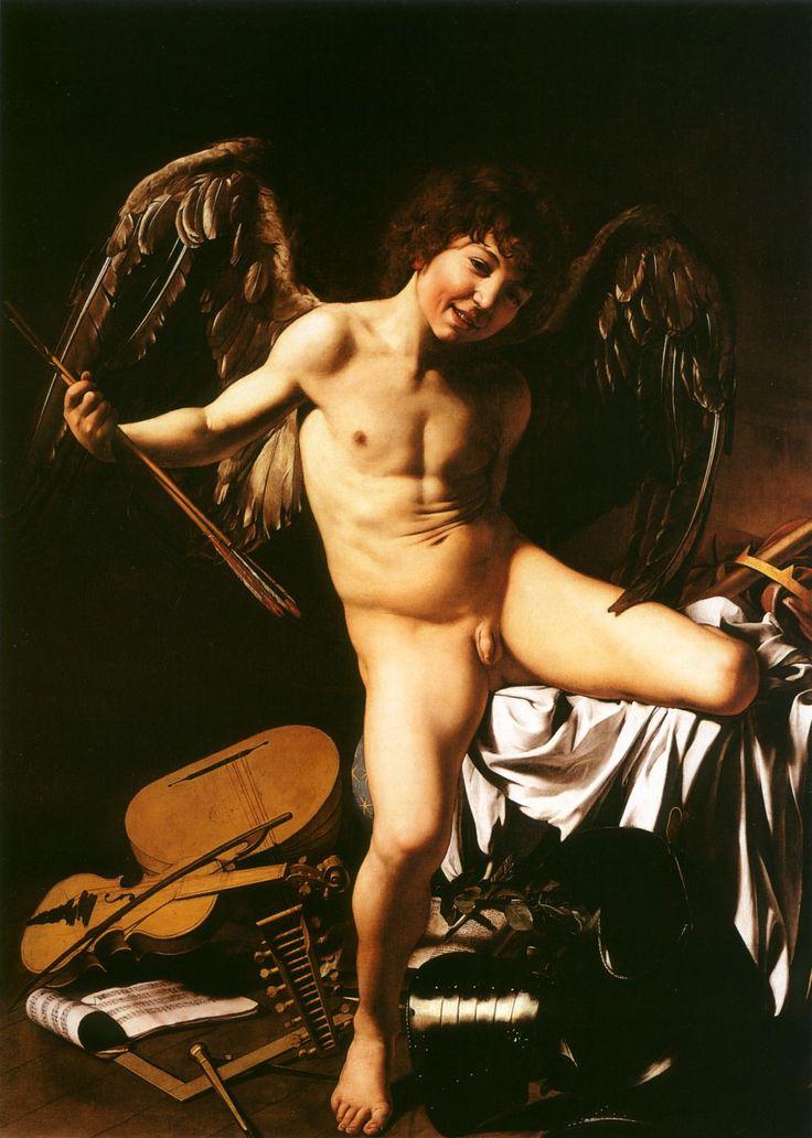 El amor victorioso. 1602 - 1603. Óleo sobre lienzo. 156 x 113 cm. Gemäldegalerie, Berlín. Caravaggio muestra a Cupido por encima de todos los poderes terrenales: guerra, música, ciencia, gobierno.