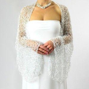 Úplňková přání... třpytivý svatební šál stříbrný / bílý