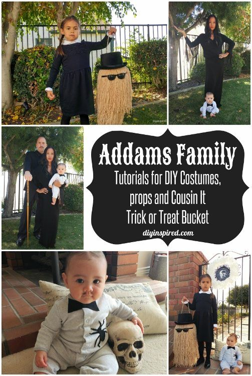 DIY Addams Family Halloween Costumes for Adults, Kids, and Babies; Transform your family into Gomez, Morticia, Wednesday, and Baby Pubert Addams and seriously spook the neighbors!