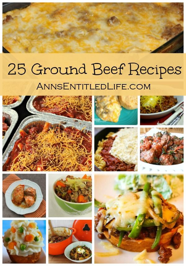 25 Ground Beef Recipes; Quick and easy ground beef recipes: Casseroles, Soups, Sandwiches, Stews and more. Try one of these fantastic 25 Ground Beef Recipes for dinner tonight.  http://www.annsentitledlife.com/recipes/25-ground-beef-recipes/