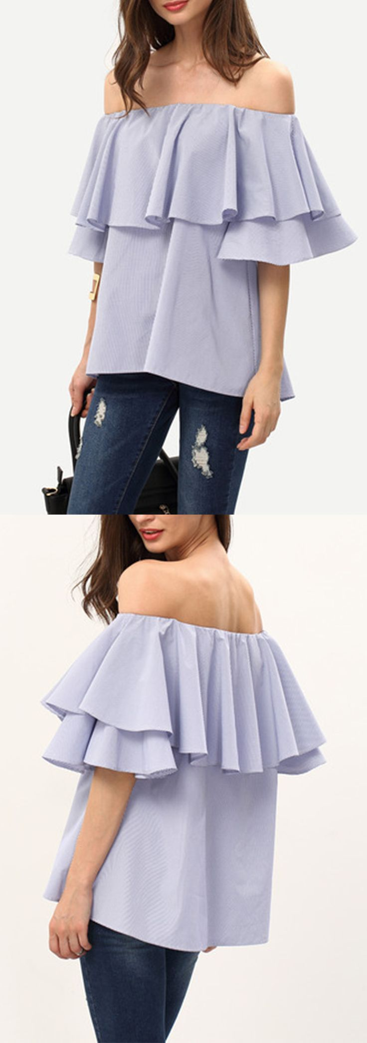 So cute! Fits perfectly. Great fabric. Cute pinstripe. Took neatly my entire life to ship. Royal Blue Ruffle Off The Shoulder Blouse atshein.com.