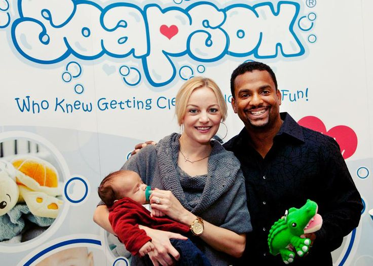 Alfonso Ribiero and his wife Angela with baby Alfonso Jr. — with Alfonso Ribeiro at Hollywood Roosevelt - a Thompson Hotel. #SoapSox #Carlton #FreshPrince