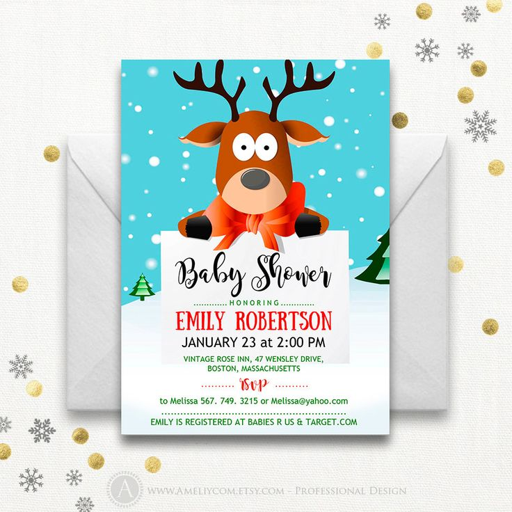 Сute Baby Shower Invitation Printable - Deer - Winter Baby Shower Invite DIY DOWNLOAD funny animals Neutral Baby Shower, Holiday Baby Shower