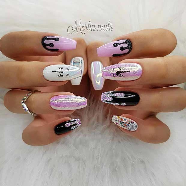 Pink And Black Unicorn Nails Bestmakeupideas Unicorn Nails Designs Unicorn Nail Art Drip Nails