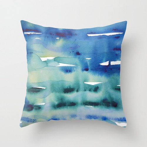 watercolor pillow blue throw pillow cover turquoise art pillow abstract art pillow art decor cushion artist gift pillow arty home decor