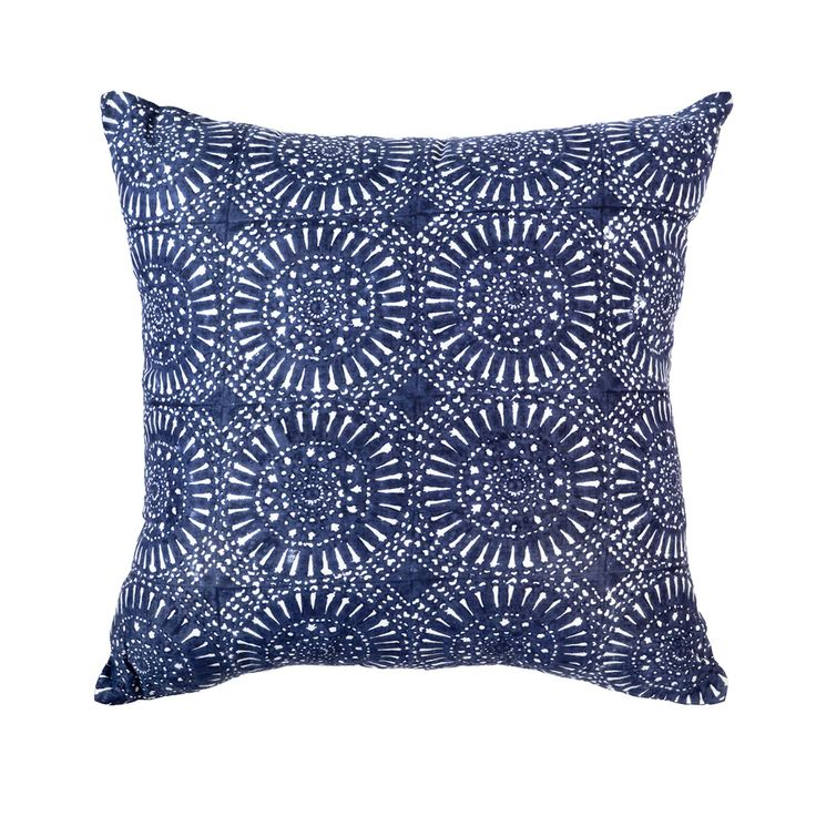 Sphere Print Navy Medium cushion 50x50cm Blockprinted by hand on paper silk fabric. Available on bandhini.com.au