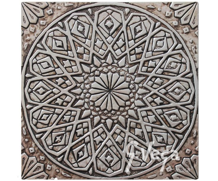 Moroccan Wall Hanging Carved In Deep Relief // Ceramic Tile // Wall Decor  // Wall Art // Moroccan // Aged Silver