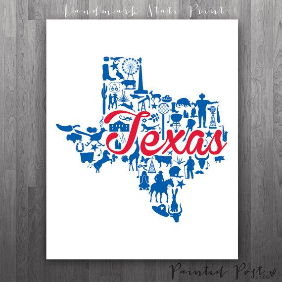 Dallas Texas Landmark State Giclée Print  8x10  by PaintedPost, $15.00 #paintedpoststudio - Southern Methodist University - SMU Mustangs - University Park- What a great and memorable gift for graduation, sorority, hostess, and best friend gifts! Also perfect for dorm decor! :)