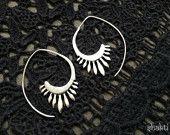 Gancio orecchini tribali, placcato argento, orecchini di boho, piercing orecchini, gioielli etnici