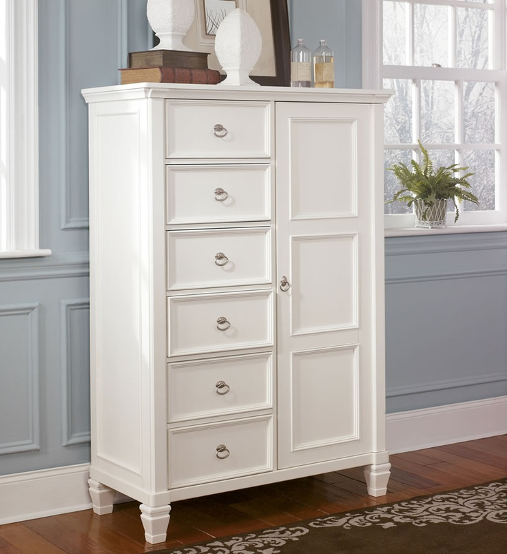 ashley furniture door chest | Prentice White Bed with Storage Footboard