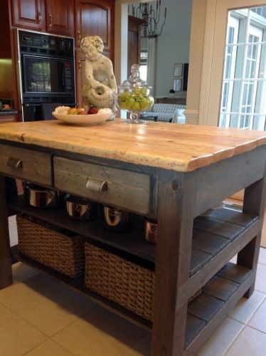 Diy kitchen island workshop pinterest for How to build a rustic kitchen island