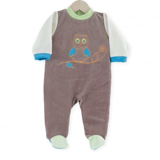 "Pijama ""Lechuza"" #pijama #bebe #niño #lechuza #marron #verde #gris #kinousses"