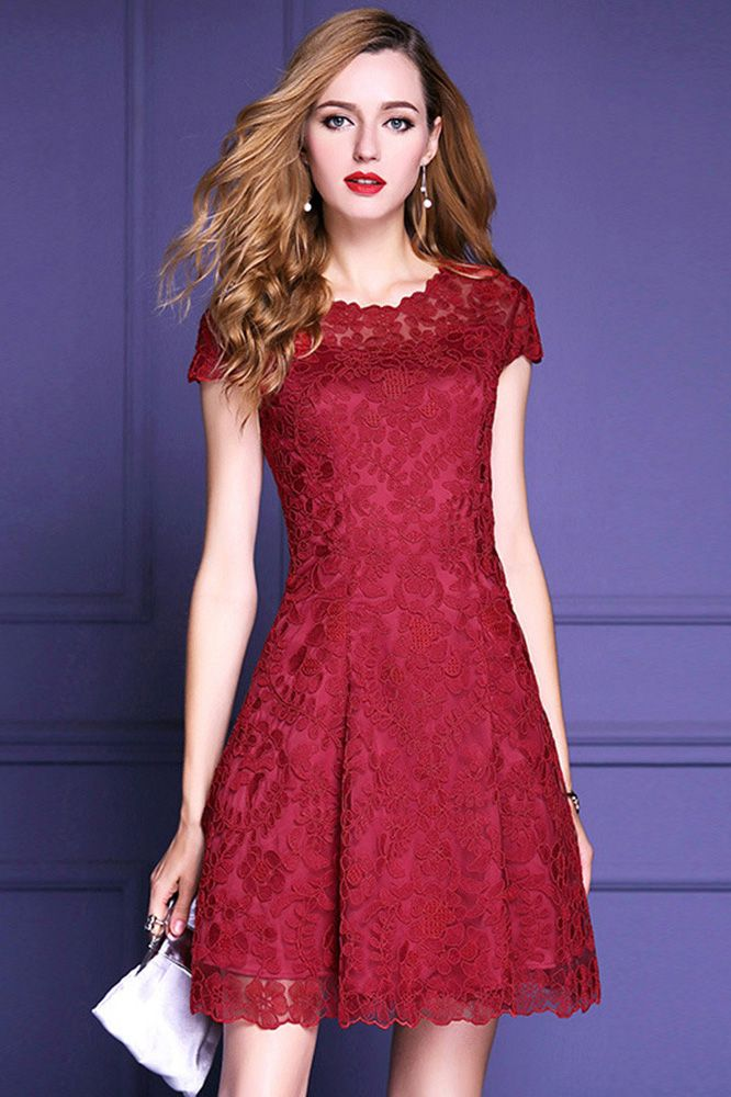 Burgundy A Line High End Lace Party Wedding Guest Dress With Sleeves Zl8088 Gemgrace Com Lace Wedding Guest Dress Cocktail Dress Wedding Wedding Guest Dress