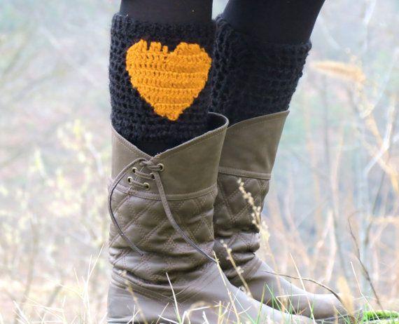 DISCOUNT Boot Cuffs Black Mustard Short Heart by EmofoFashion