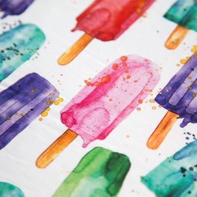 Digiprintti: Mehujäätaikaa-jersey / Popsicles single jersey, digital print / Käpynen