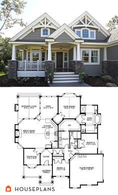 Craftsman Plan #132-200. Has a few things I would change (open dining room) but love the covered porch.  Prefer side entrance garages.  Would like to use space above garage for bunkroom #FixerUpper style