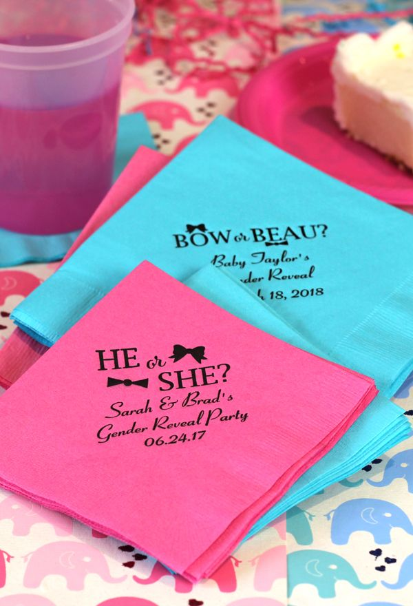 Custom printed baby shower party napkins in beverage, luncheon, dinner, and guest towel sizes. Set our blue and pink napkins next to the cake table printed with a gender neutral message for a cute accent to your gender reveal baby shower.