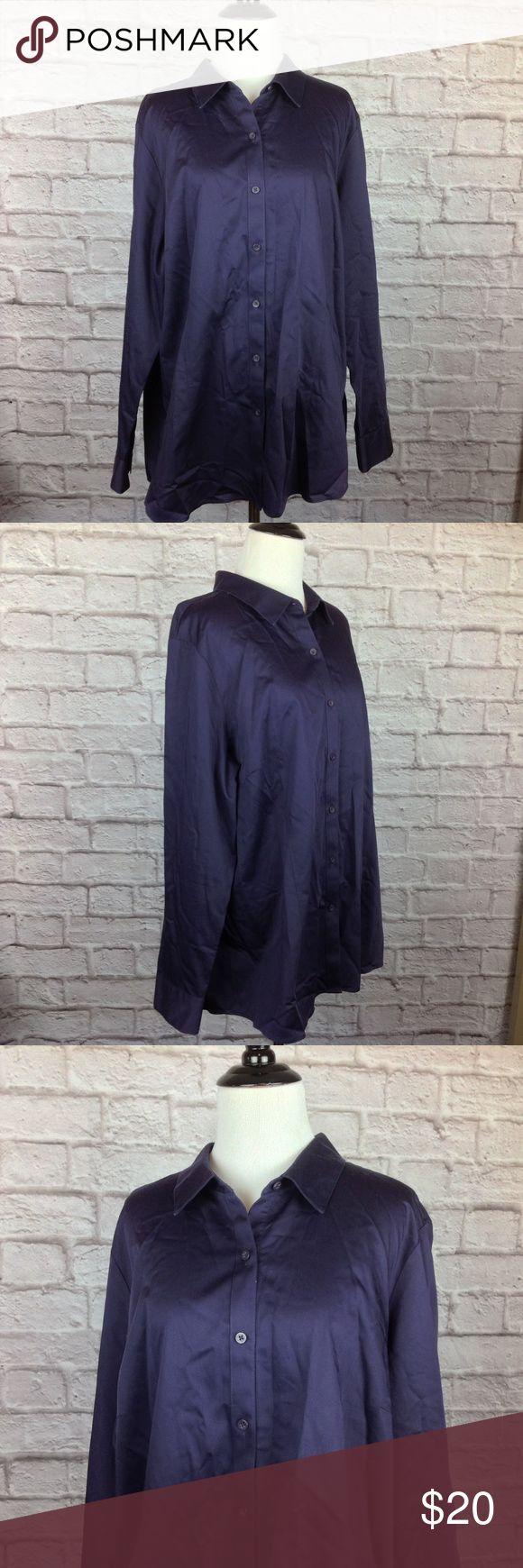 Coldwater Creek Top 2X Button Purple Non Iron Great Condition;  Coldwater Creek Top Women 2X Button Purple Non Iron Shirt Cotton; 28 inch length; 24 inch across bust Coldwater Creek Tops Button Down Shirts