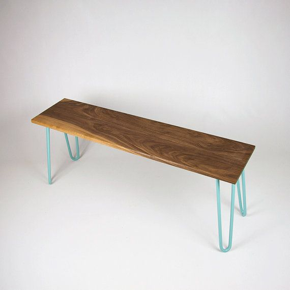 Bench, in Walnut, Hairpin Legs, Eames, Midcentury bench, Industrial bench