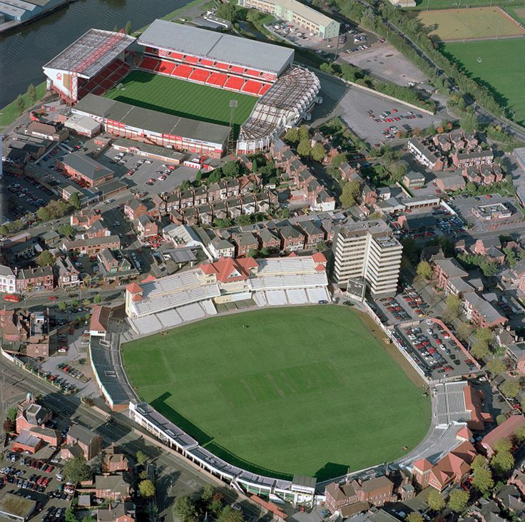 Trent Bridge cricket ground with Nottingham Forest Football club in distance - Nottingham