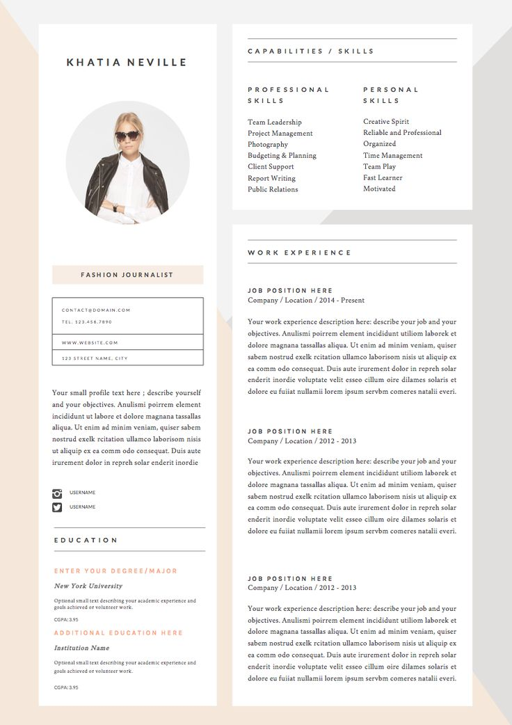 72 best â professional resume templates images on pinterest