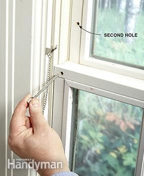 Pin lock for window. The factory latches on double-hung windows are no match for a burglar with a pry bar. But they can't get past inexpensive pin locks (about $2 each). You can install a pin in just a few minutes per window. Drill a hole to lock the window closed, and a second hole a few inches up to lock the window partly open for ventilation.