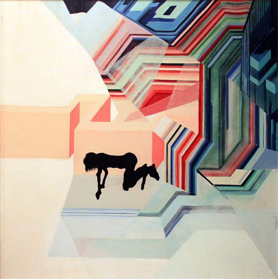 """Labirinto"" acrylic painting; cm 100x100; 1972; € 7000"