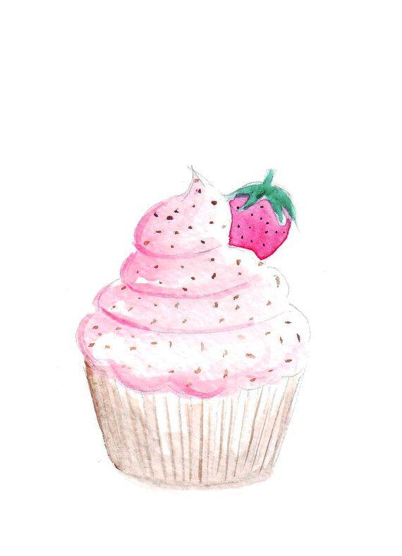 Aquarell Bild mit dem Titel flauschige Cupcake von FallintoLondon