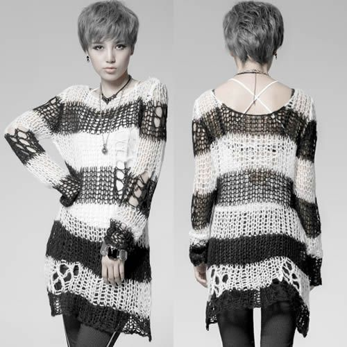 White and Black Stripe Long Sleeve Punk  Fashion Sweaters Women SKU-11411038