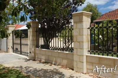 Limestone And Decorative Wrought Iron Fence Photo Urbano