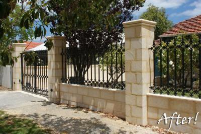 LImestone and Decorative Wrought Iron Fence Photo  Urbano