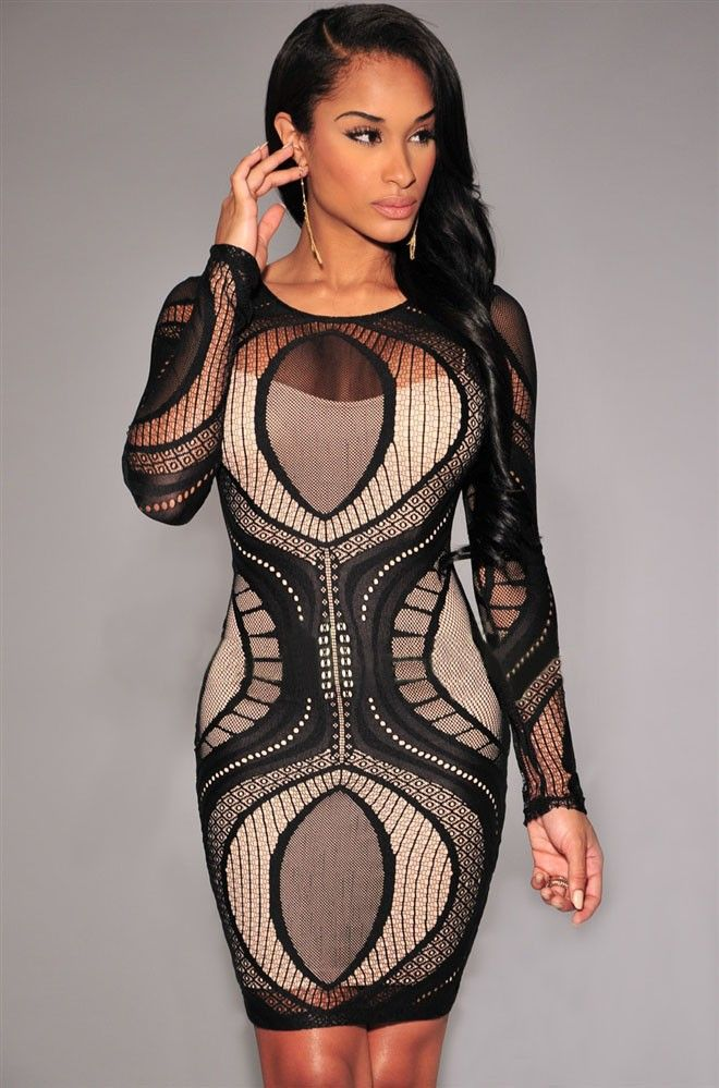 Black Apricot Lace Nude Illusion Long Sleeves retro Bodycon Party woman Dresses 2015 robes femmes estido de renda curto LC22136 | La Femme Boutique