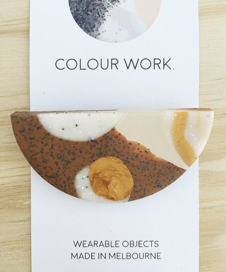 Half Circle brooch #1 (Chocolate, gold, camel and white granite) by colourwork on Etsy