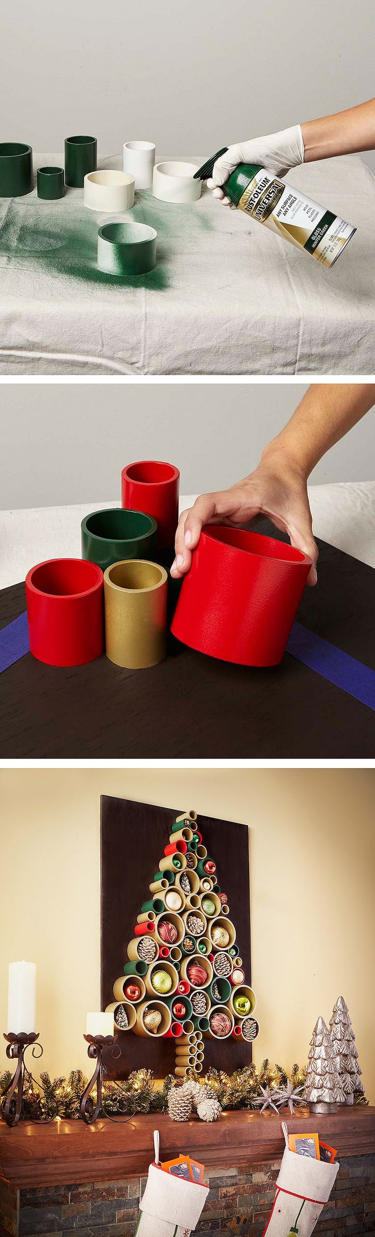 Could also just be wal art   Here's a PVC pipe project for the holidays. It's a PVC pipe Christmas tree. This colorful wall hanging is a pretty simple DIY project you can complete in a weekend. Click through for the full tutorial.